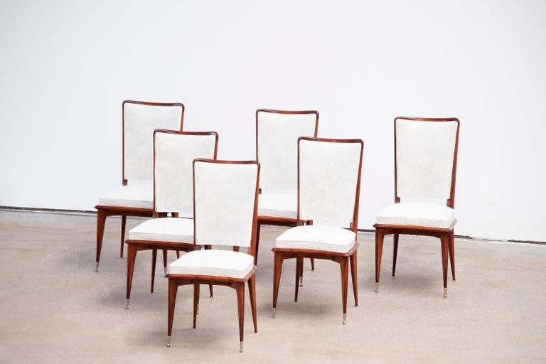 French Art Deco Set of 6 Chairs, France, 1940 For Sale