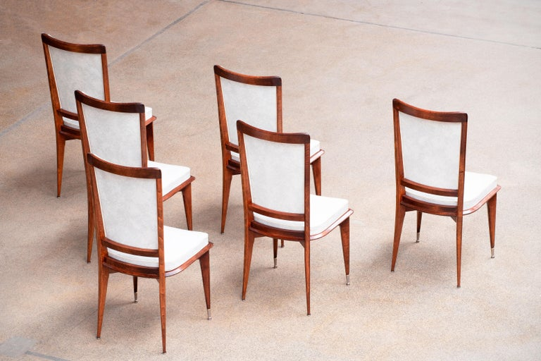Mid-20th Century Art Deco Set of 6 Chairs, France, 1940 For Sale