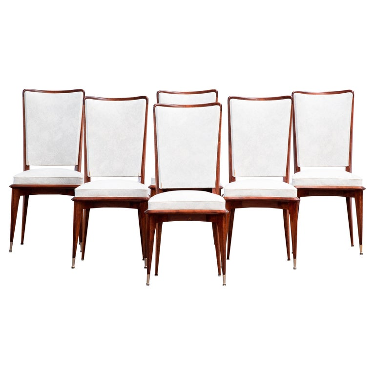 Art Deco Set of 6 Chairs, France, 1940 For Sale