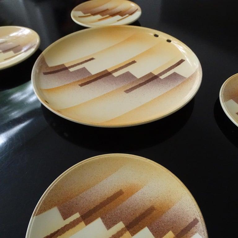 Art Deco Set aus Keramikschale und Teller, modernistisches Design der 1930er Jahre 10