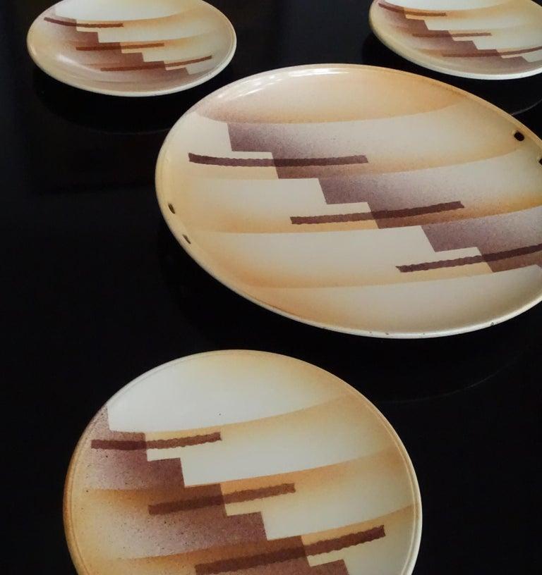 Art Deco Set aus Keramikschale und Teller, modernistisches Design der 1930er Jahre 3