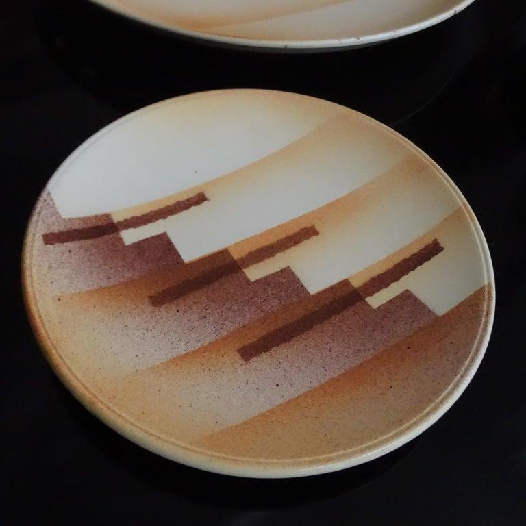 Art Deco Set aus Keramikschale und Teller, modernistisches Design der 1930er Jahre 5