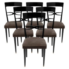Art Deco Set of Ebonized Mahogany Dining Chairs