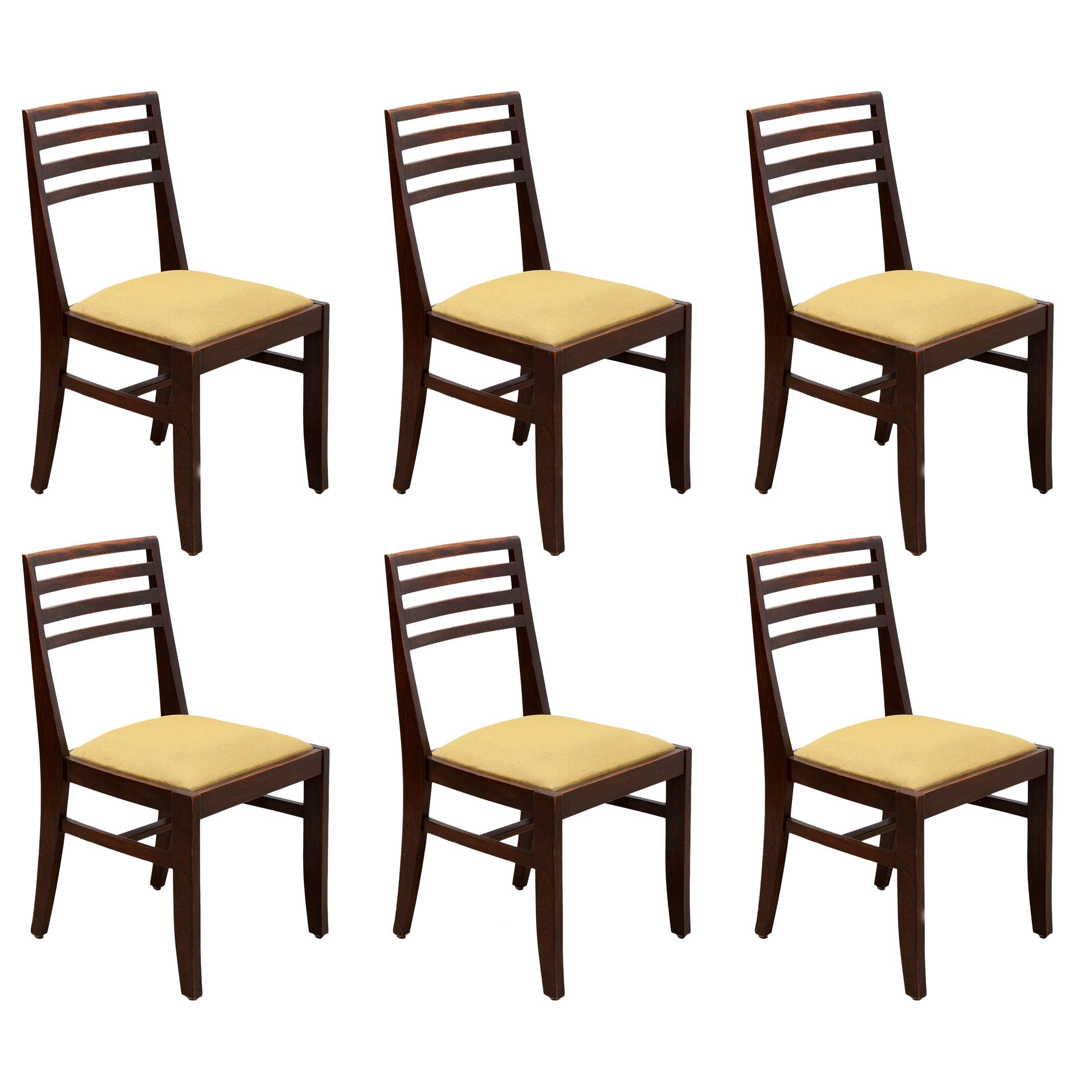 Art Deco Set of Six chairs designed by De Coene, Belgium, 1930s