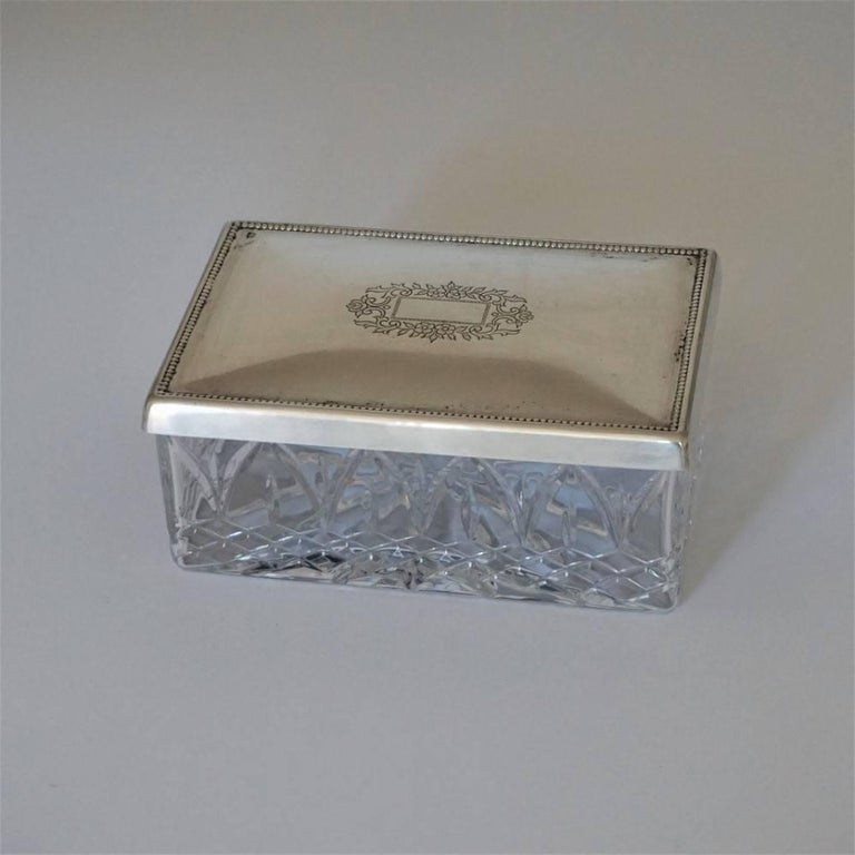 Portuguese Art Deco Set of Two Cut Crystal and Sterling Silver Boxes by Topázio, Portugal For Sale