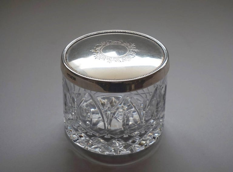 Art Deco Set of Two Cut Crystal and Sterling Silver Boxes by Topázio, Portugal For Sale 2