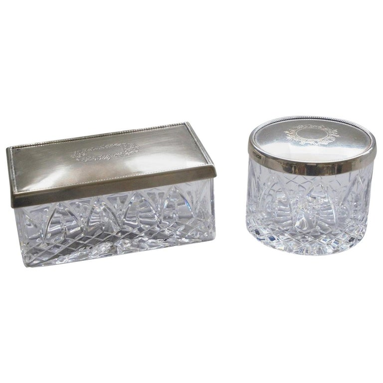 Art Deco Set of Two Cut Crystal and Sterling Silver Boxes by Topázio, Portugal For Sale