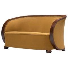 Art Deco Settee in Yellow Upholstery