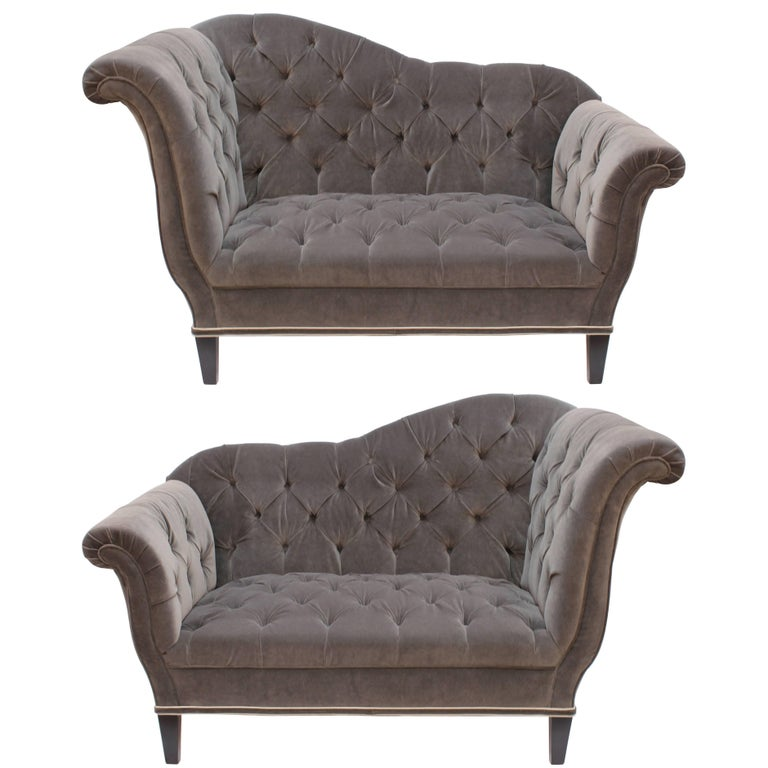 Art Deco Settees with Tufted Velvet Upholstery and Black Wooden Legs