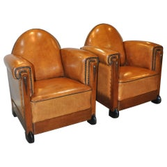 Art Deco Sheep Leather Arm Chairs, Set of 2, the Netherlands,1920s