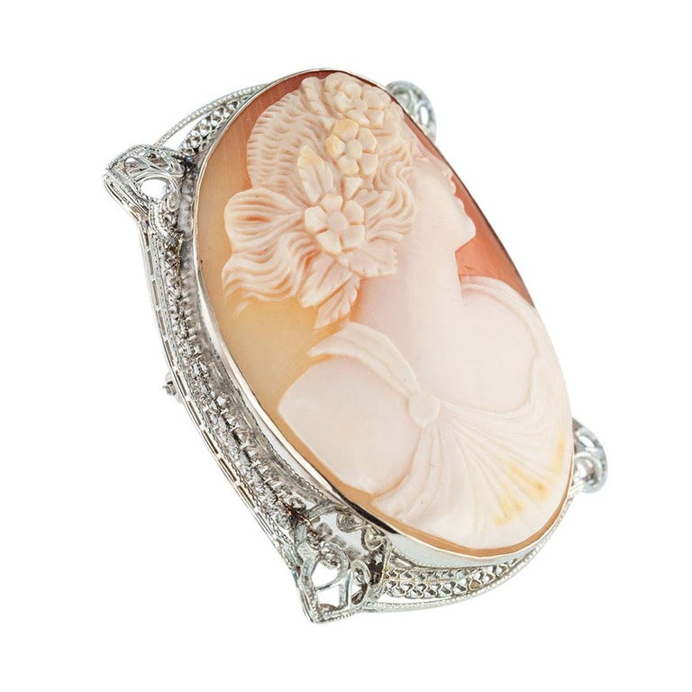 Art Deco classical head profile carving shell cameo and filigree white gold brooch pendant circa 1930.  Clear and concise information you want to know is listed below.  Contact us right away if you have additional questions.  We are here to connect