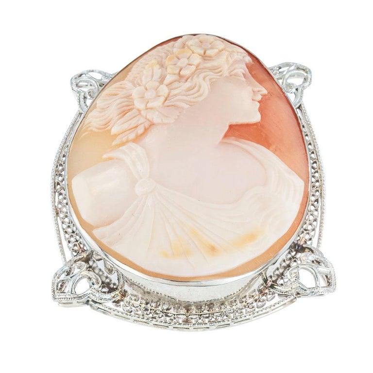 Women's Art Deco Shell Cameo Filigree White Gold Brooch Pendant