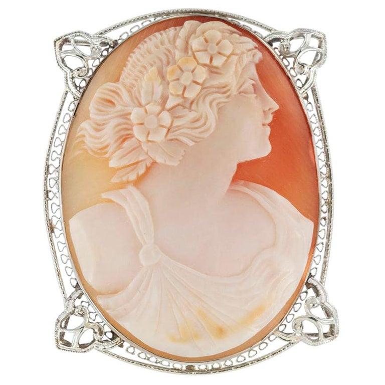 Art Deco Shell Cameo Filigree White Gold Brooch Pendant