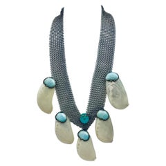 Art Deco Shell Necklace ,up-cycled with Stainless Steel Mesh ,by Sylvia Gottwald