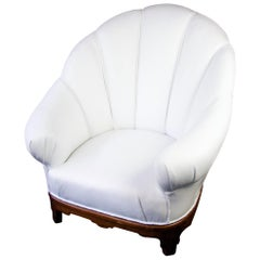 Art Deco Shellback Armchair White Italian Leather Fluted Decoration, Swedish