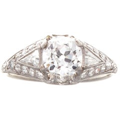 Art Deco Shreve & Co GIA 1.04 Carat Old Mine Cut Diamond Engagement Ring