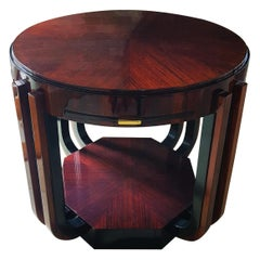 Art Deco Side Center Game Table Signed by Majorelle, France, 1925