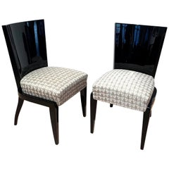 Art Deco Side / Dining Chairs, Black Lacquer, Grey Fabric, France circa 1930