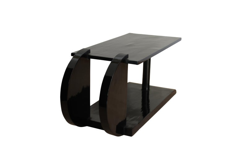 Art Deco Side Table, Black Polish, France circa 1930 2