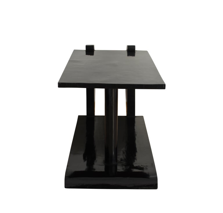 Art Deco Side Table, Black Polish, France circa 1930 5