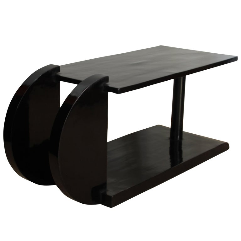 Art Deco Side Table, Black Polish, France circa 1930 1