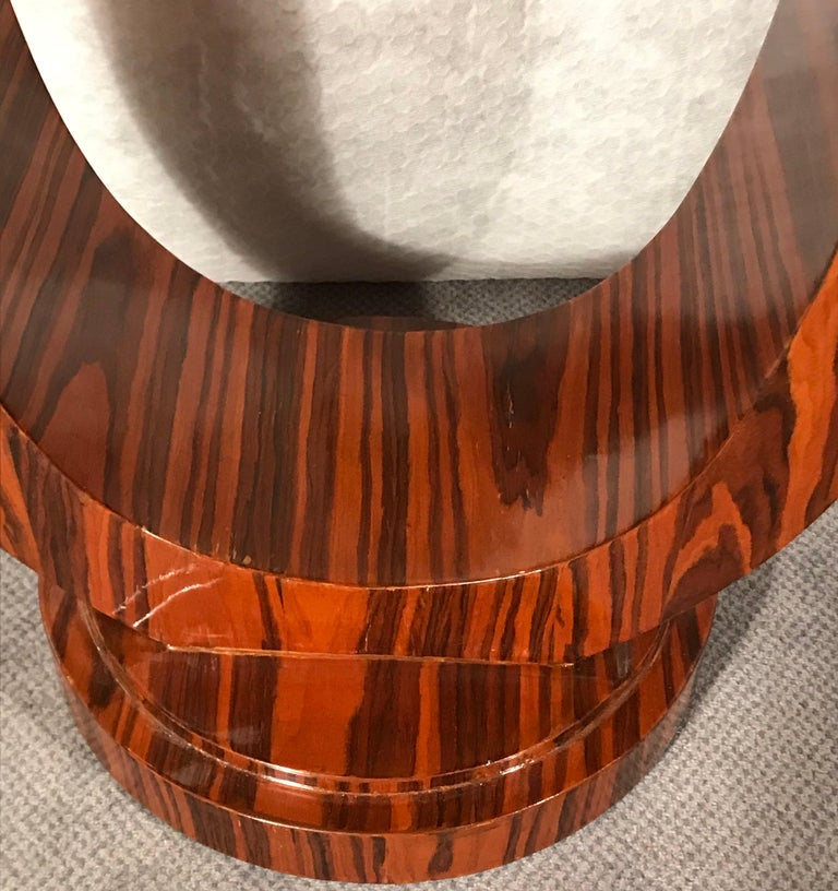 French Art Deco Side Table, France 1920-1930, Makassar Ebony Wood Veneer For Sale