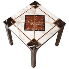 Art Deco Side Table in Mahogany with Bronze Inlays and Marble Cover with Brass 2