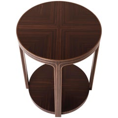Art Deco Side Style Table in Oak with Ebony Veneer and Bronze Inlays