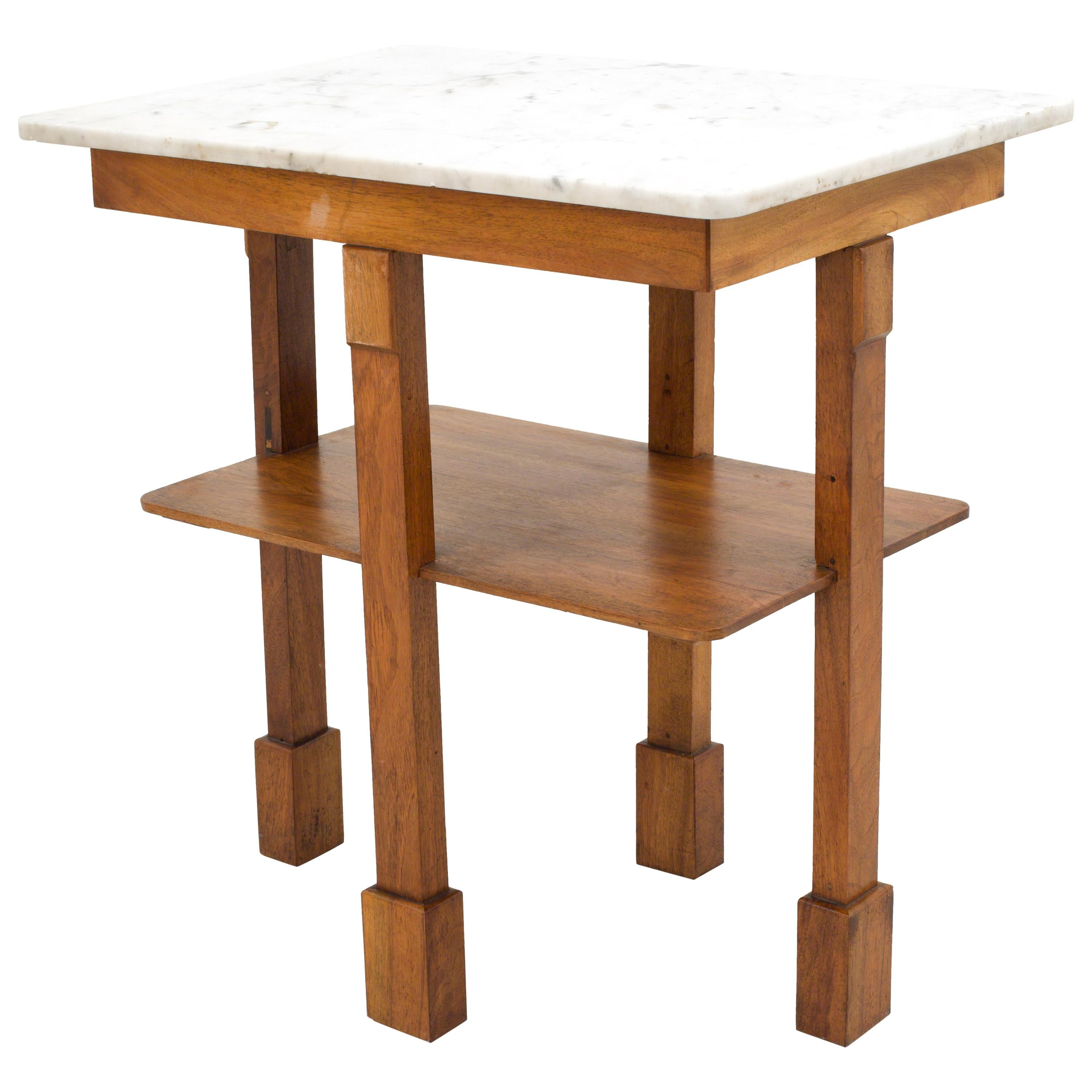 Art Deco Side Table in Oak and Marble, France, 1930s