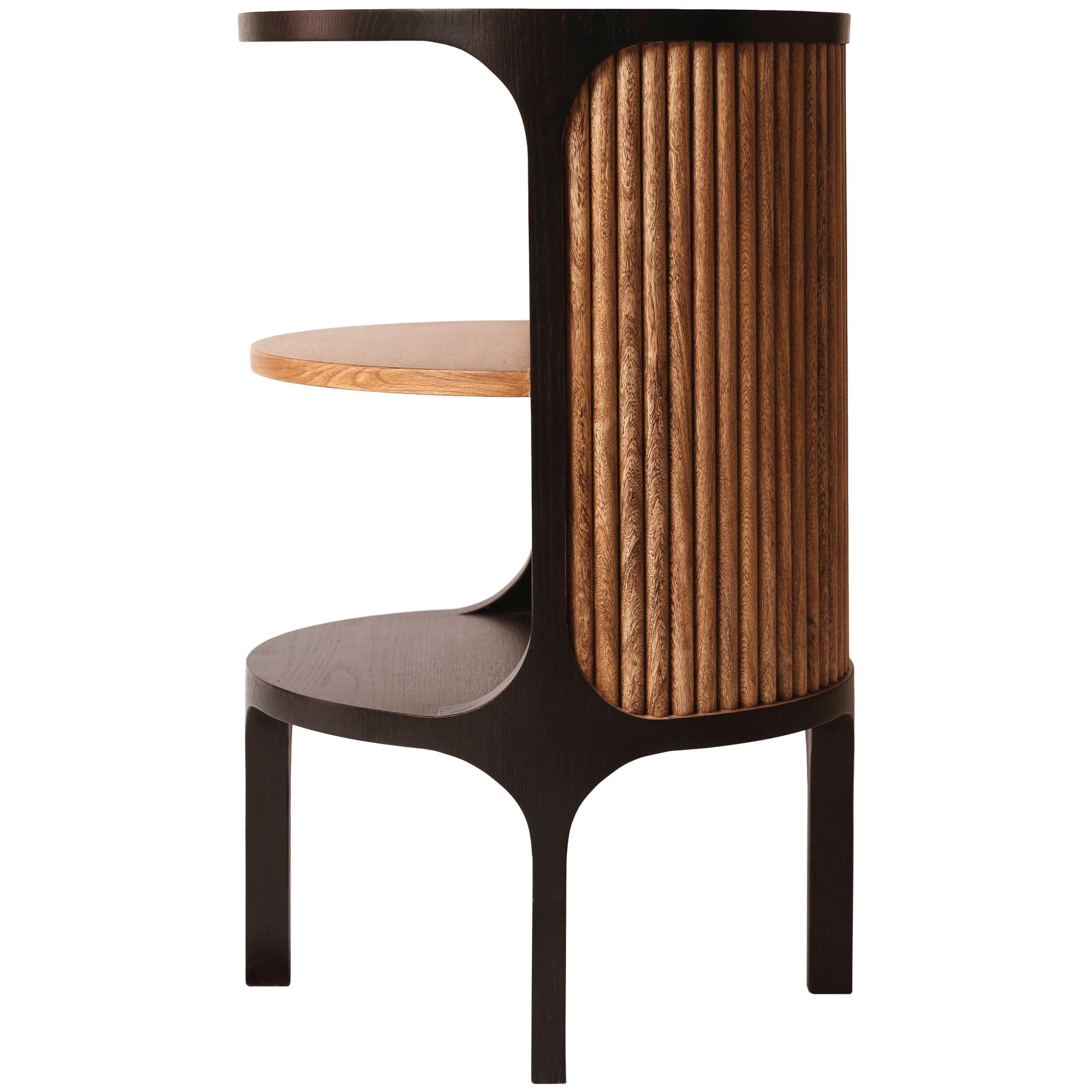 Art Deco Side Table in Oak Veneer and Pink Poui