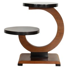 Art Deco Side Table or Flower Stand, Walnut Veneer, Ebonized, France, circa 1930