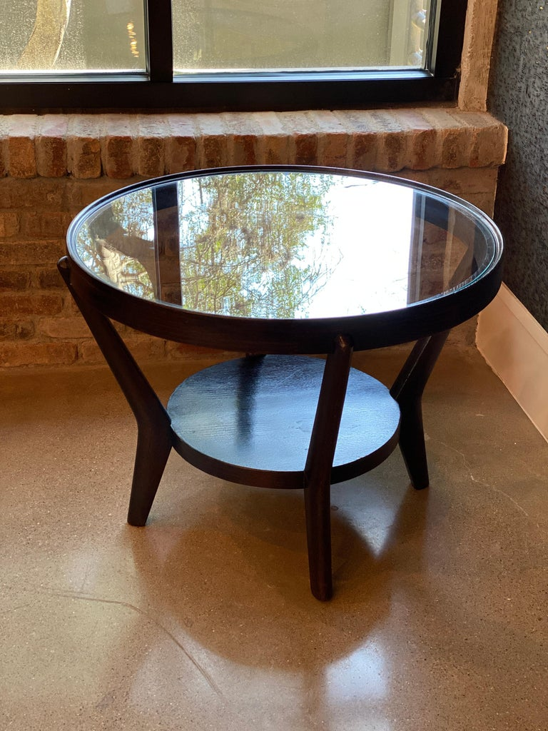 Art Deco Side Table 'Single or Pair' with Ebonized Wood and Glass, 1930s For Sale 5