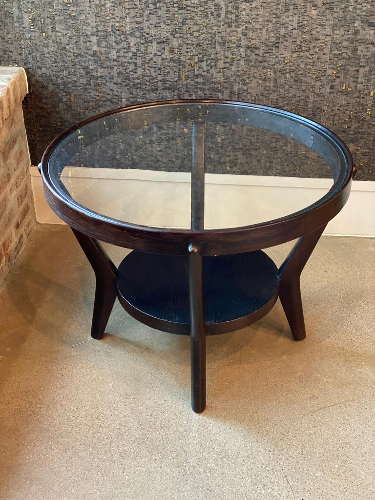 Art Deco Side Table 'Single or Pair' with Ebonized Wood and Glass, 1930s For Sale 6