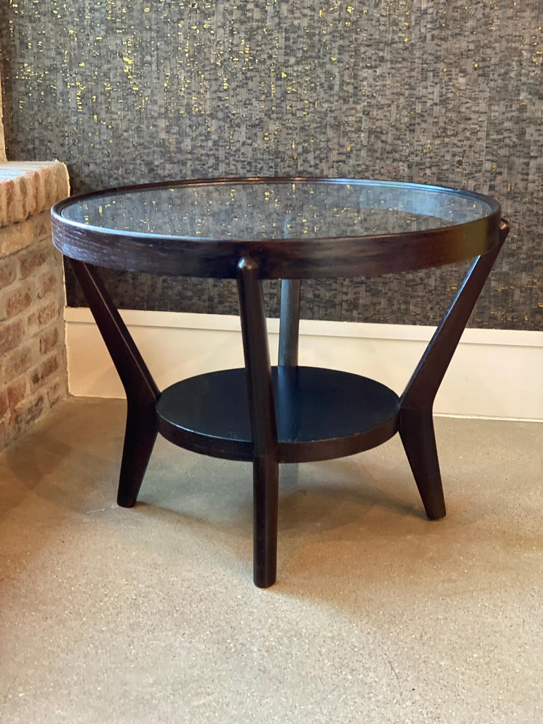 Art Deco Side Table 'Single or Pair' with Ebonized Wood and Glass, 1930s For Sale 7