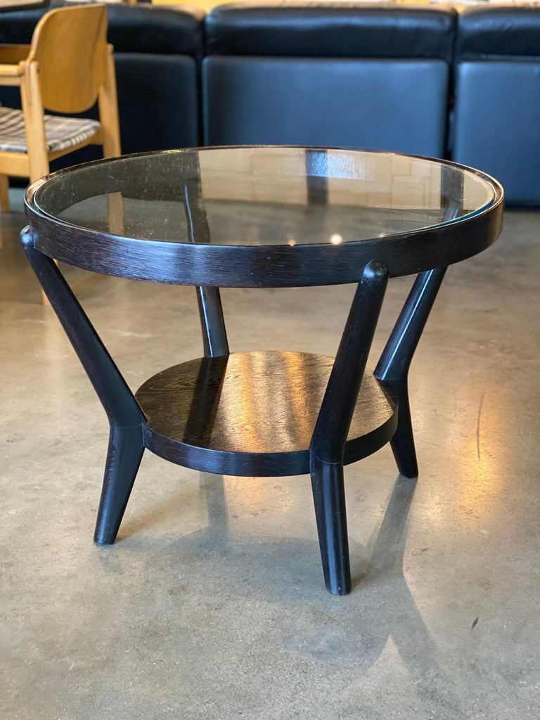 European Art Deco Side Table 'Single or Pair' with Ebonized Wood and Glass, 1930s For Sale