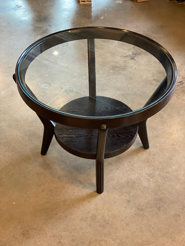 Art Deco Side Table 'Single or Pair' with Ebonized Wood and Glass, 1930s In Good Condition For Sale In Austin, TX