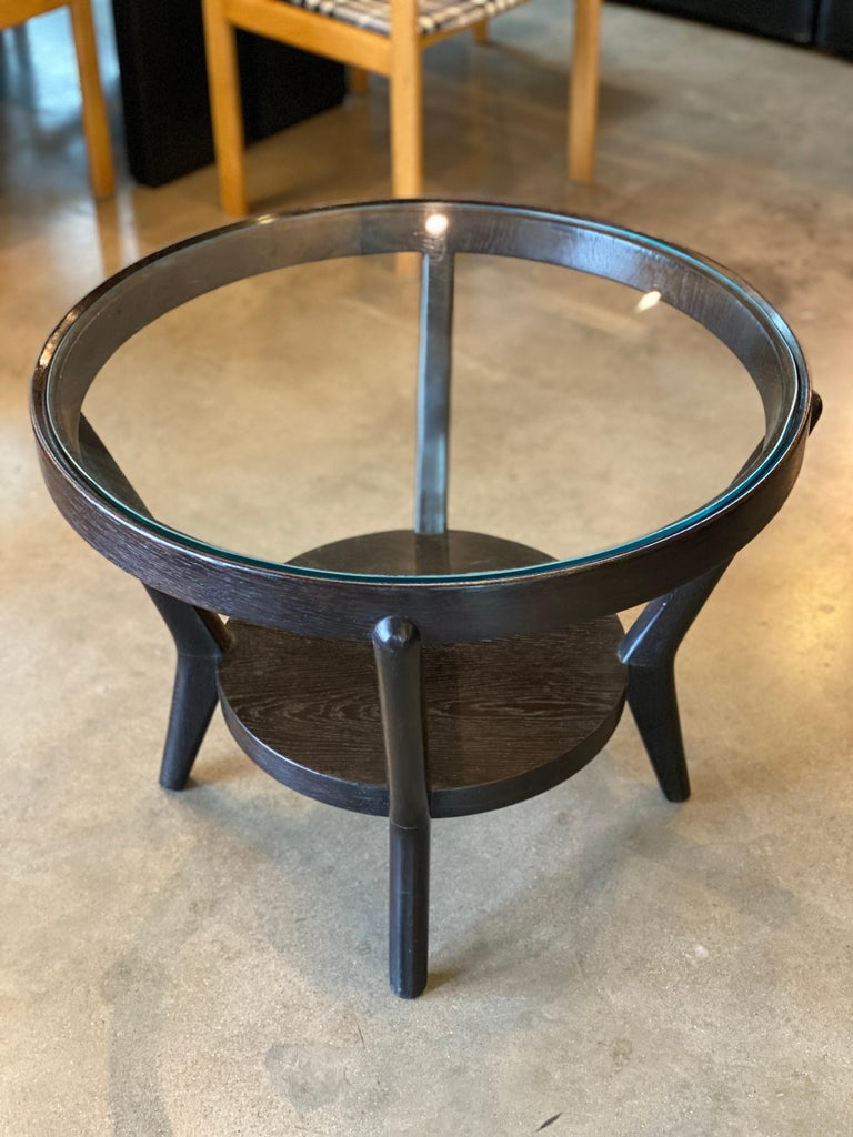 Mid-20th Century Art Deco Side Table 'Single or Pair' with Ebonized Wood and Glass, 1930s For Sale