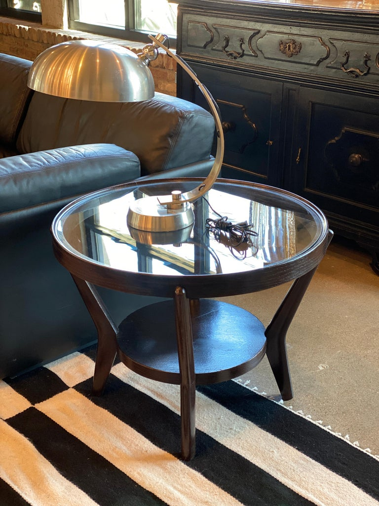 Art Deco Side Table 'Single or Pair' with Ebonized Wood and Glass, 1930s For Sale 2