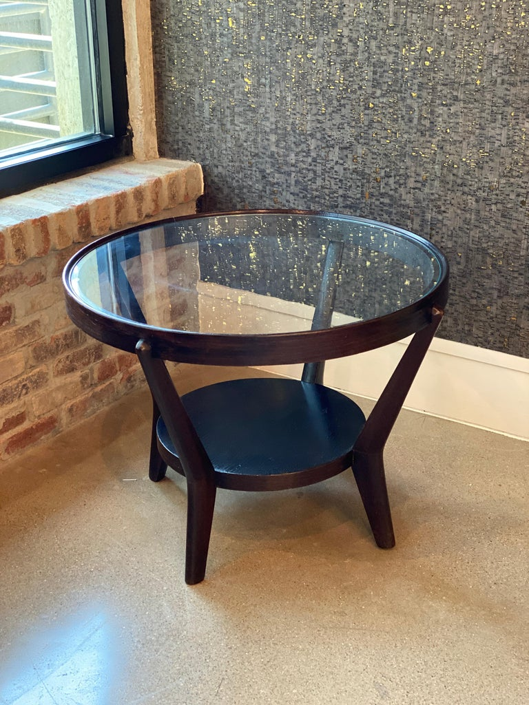 Art Deco Side Table 'Single or Pair' with Ebonized Wood and Glass, 1930s For Sale 4