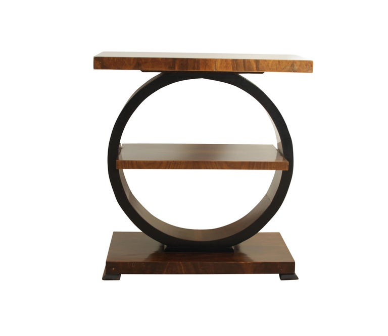 Very beautiful original Art Deco Side tables from France around 1925.  All wooden parts are veneered with walnut on soft wood. Very fine book-matched veneer on the top plate. The side of the loop and the legs have been ebonized (black