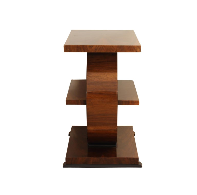 French Art Deco Side Table, Walnut Veneer, France, circa 1925 For Sale
