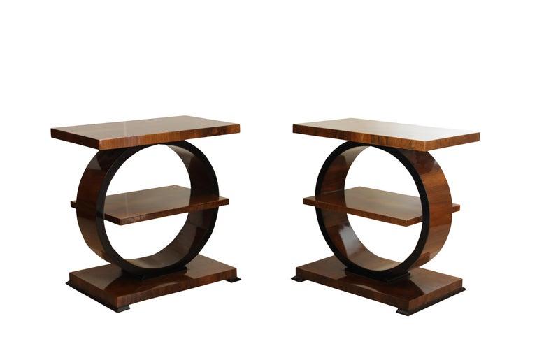 Ebonized Art Deco Side Table, Walnut Veneer, France, circa 1925 For Sale