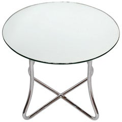Art Deco Side Table with Original Mirrored Glass Top, Original AEL Label to Base