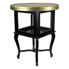 Art Deco Side Table with Ornamented Brass Table Top, Austria, circa 1920