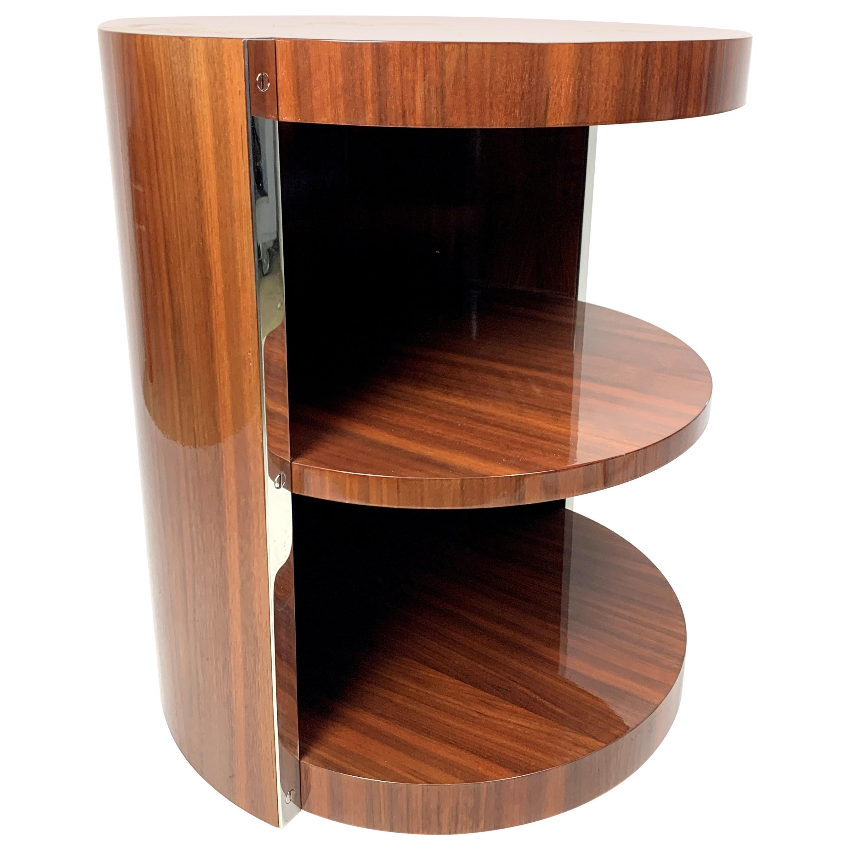Art Deco Side Table with Walnut Veneer and Chrome-Plated Steel
