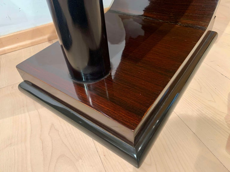 Art Deco Side Tables, Rosewood Veneer, Ebonized, Black Glass, France, circa 1930 For Sale 6