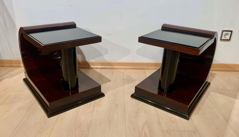 Art Deco Side Tables, Rosewood Veneer, Ebonized, Black Glass, France, circa 1930 For Sale 10