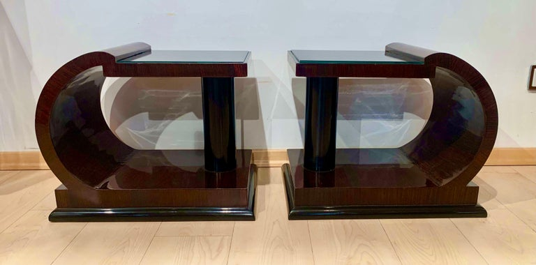 Art Deco Side Tables, Rosewood Veneer, Ebonized, Black Glass, France, circa 1930 For Sale 11