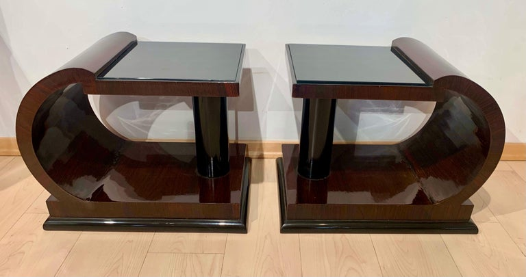 Art Deco Side Tables, Rosewood Veneer, Ebonized, Black Glass, France, circa 1930 For Sale 13