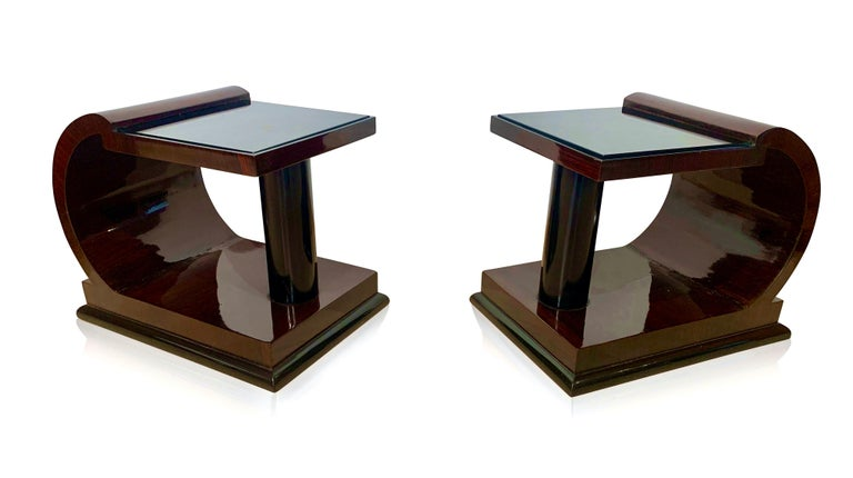 French Art Deco Side Tables, Rosewood Veneer, Ebonized, Black Glass, France, circa 1930 For Sale